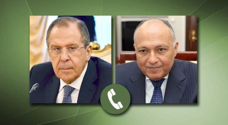 لافروف وشكري يبحثان تنسيق الجهود لحل أزمتي ليبيا وسوريا سياسيا
