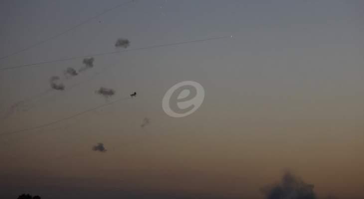 اطلاق رشقة صواريخ كبيرة من غزة بإتجاه إسرائيل