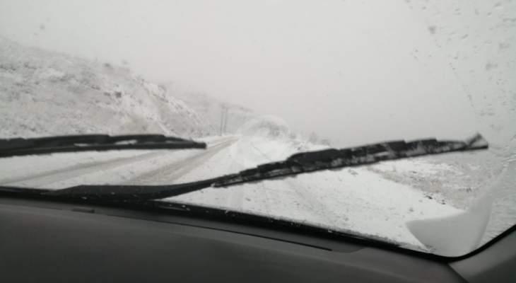 طريق ضهر البيدر مقطوعة حاليا امام جميع المركبات بسبب الثلوج