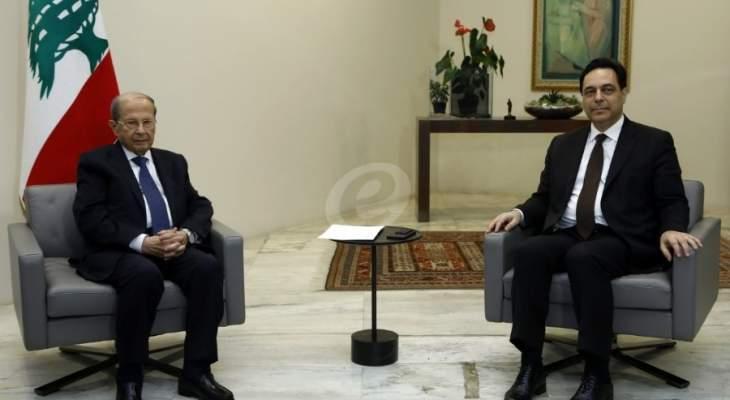 الرئيس عون يلتقي رئيس حكومة تصريف الاعمال حسان دياب