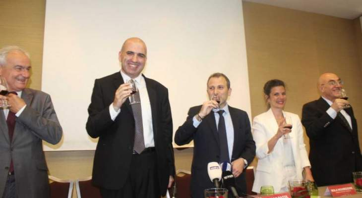 باسيل: الخارجية ستواصل العمل على فتح اسواق جديدة للنبيذ اللبناني