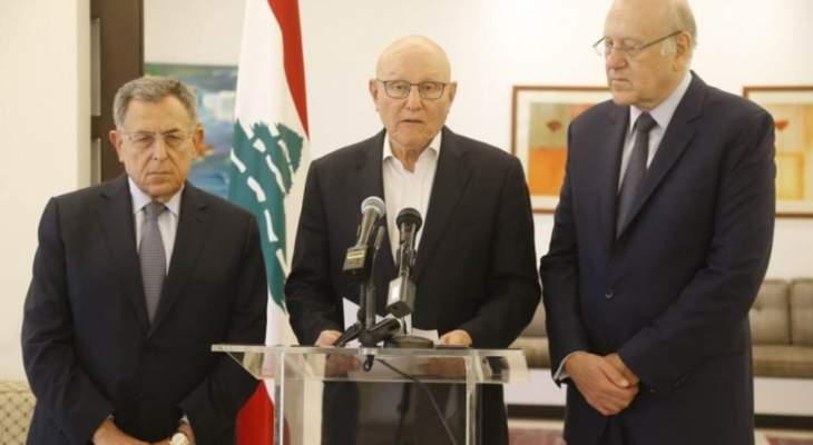 رؤساء الحكومات السابقين: الحريري استجاب لنداء اللبنانيين وليتحمل الكل مسؤولياتهم