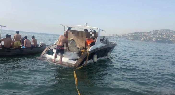 الدفاع المدني: سحب زورق سياحي على متنه 12 شخصا مقابل خليج جونية إثر عطل تقني