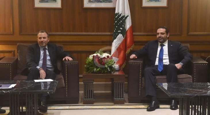 مصادر لقاء الحريري باسيل لـ LBC: مسودة حكومة ثلاثينية بحوزة الحريري
