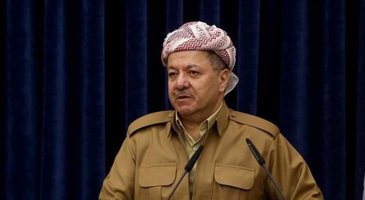 """بارزاني ينفي تبنيه الوساطة بين """"العمال الكردستاني"""" وتركيا"""