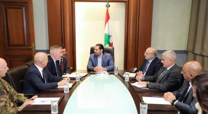 الحريري بحث مع وزير الدفاع الإيطالي بالعلاقات الثنائية وبرامج التعاون العسكري
