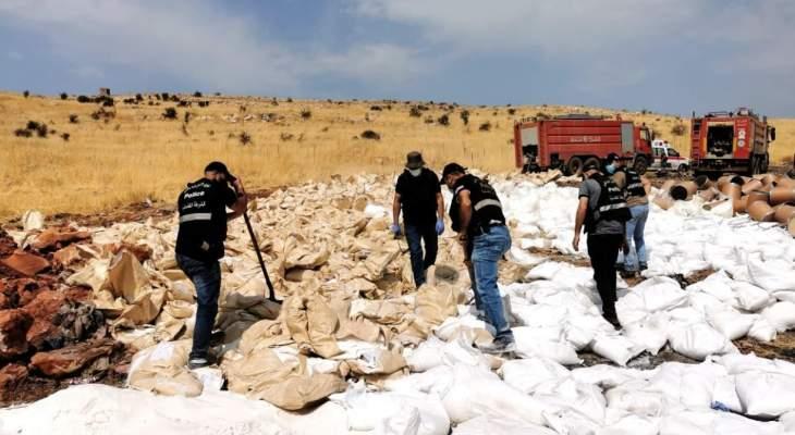 تلف مواد مخدّرة في بلدة مجدل عنجر البقاعية مضبوطة من قِبل شعبة المعلومات