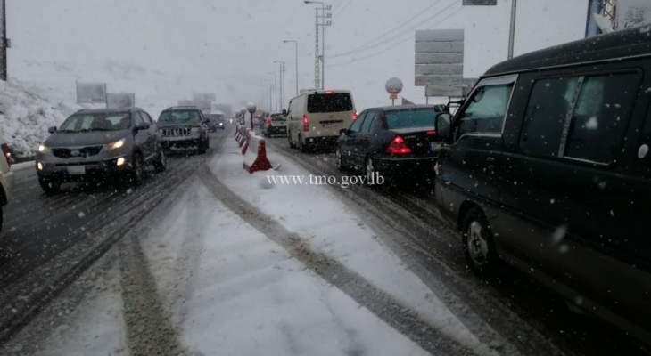 طريق ضهر البيدر سالكة أمام السيارات المجهزة وطريق ترشيش زحلة مقطوعة