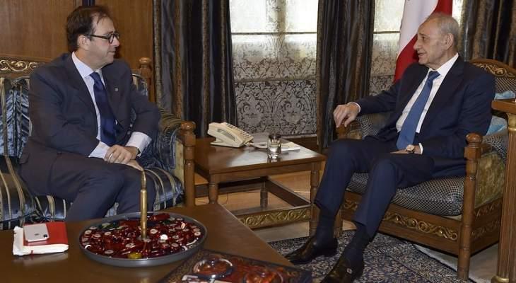 بري التقى السفير الفرنسي ووزير المال وتلقى رسالة من نائب رئيس الإتحاد الأوروبي