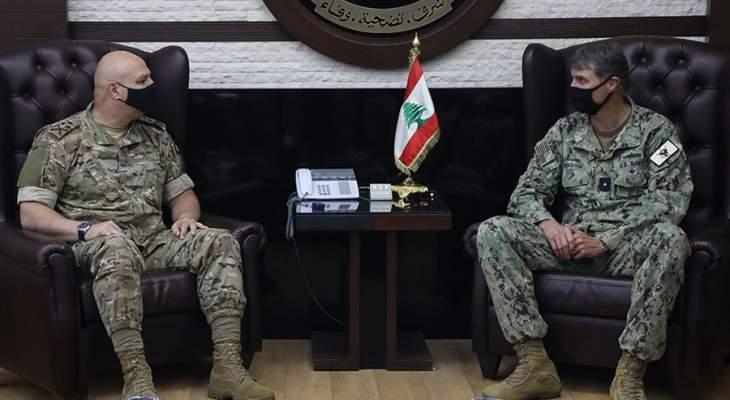 قائد الجيش استقبل مساعد قائد القوات البحرية بالقيادة الوسطى الأميركية