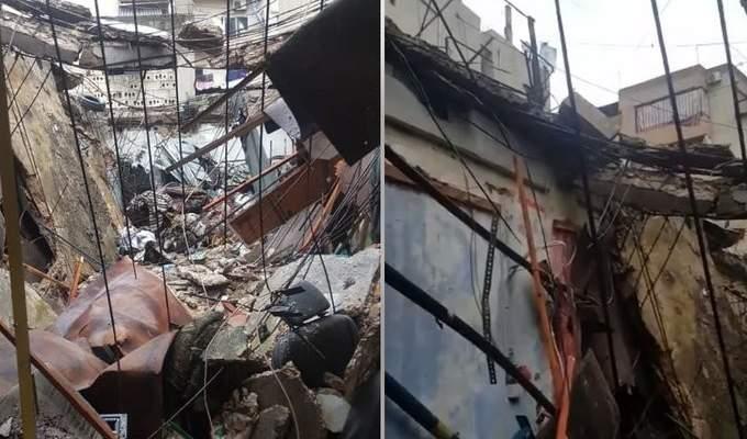 الجيش اللبناني يقوم بأعمال الإغاثة نتيجة انهيار سقف محل في التبانة