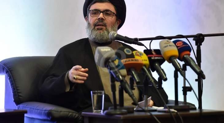 رئيس المجلس التنفيذي بحزب الله السيد هاشم صفي الدين يشارك بتظاهرة المواطنين بالضاحية