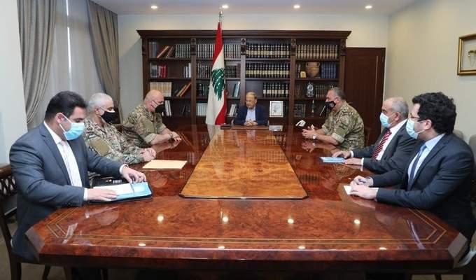 الرئيس عون ترأس اجتماعاً لأعضاء الوفد الى المفاوضات غير المباشرة لترسيم الحدود البحرية