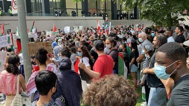 المئات تظاهروا في مونتريال بكندا تضامنا مع الفلسطينيين
