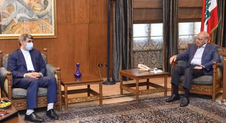 بري استقبل السفير الايراني وبحث معه الاوضاع