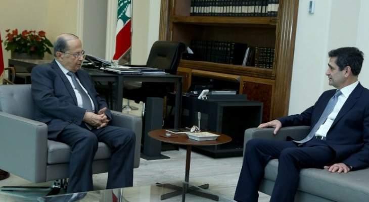 الرئيس عون استقبل قيومجيان وعرض معه شؤون الوزارة