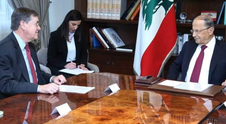 الرئيس عون خلال لقائه ساترفيلد: لبنان متمسك بسيادته برا وبحرا وجوا