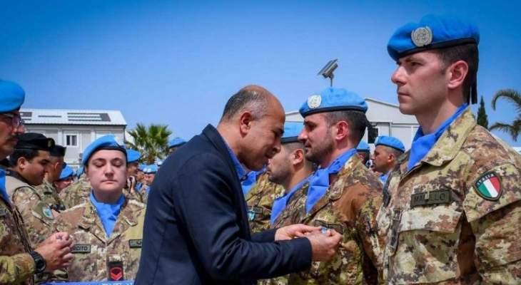 حفل تقليد اوسمة الامم المتحدة لضباط وجنود اليونيفيل الايطالية