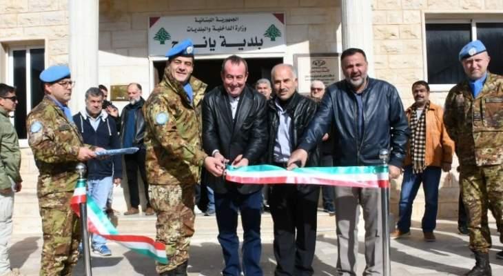 اليونيفيل الإيطالية تدشن حائط دعم للطريق الرئيسية لبلدة يانوح