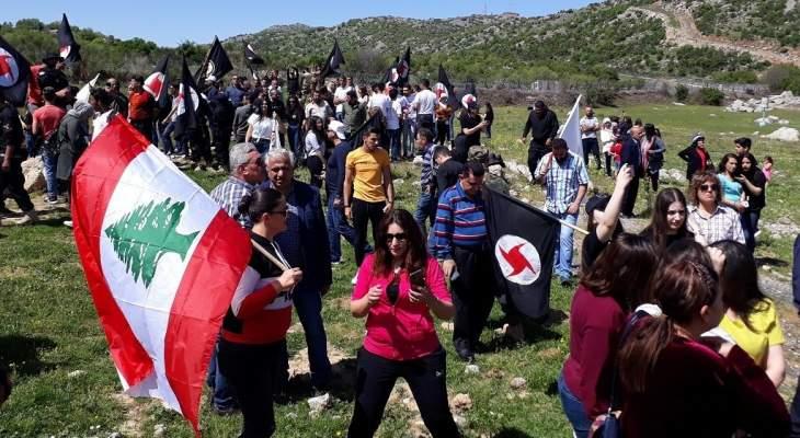 مسيرة للحزب القومي وجمعية نور الى بوابة المزارع تأكيدا على لبنانيتها