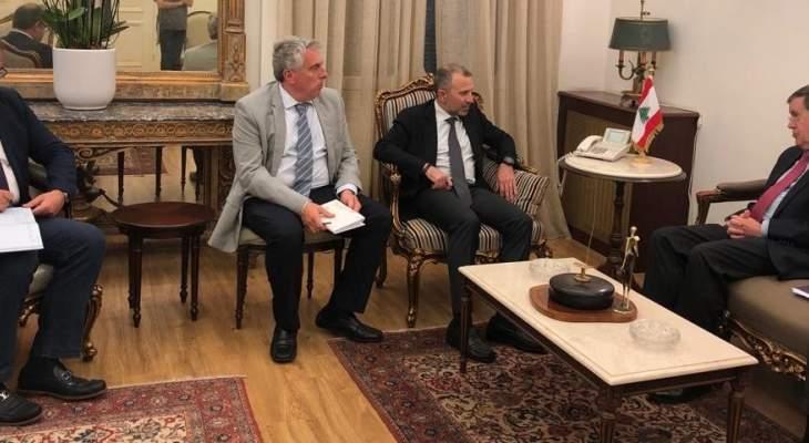 لقاء في وزارة الخارجية يجمع باسيل وساترفيلد