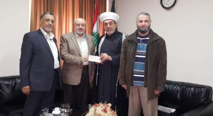 """وفد """"صندوق الخير"""" يزور المفتي سوسان ويتسلم مبلغ المساعدة من مساجد صيدا"""