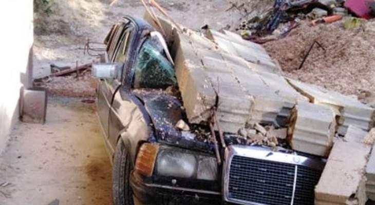 انهيار حائط من الباطون المسلّح في بلدة مجدلا- عكار