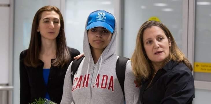 وصول الشابة السعودية رهف القنون إلى مطار تورونتو في كندا