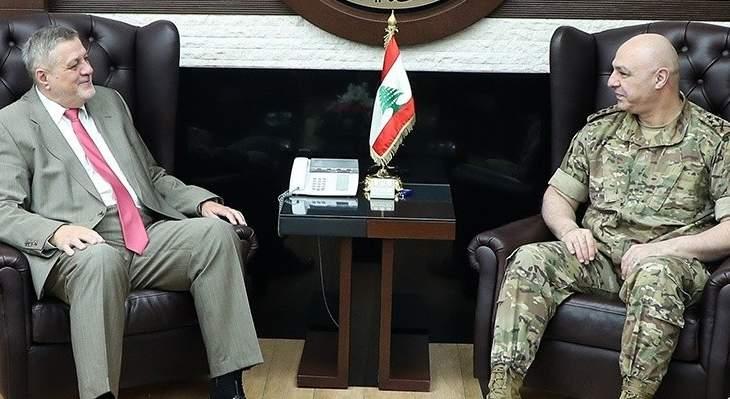 قائد الجيش تداول مع المنسق الخاص للأمين العام للأمم المتحدة في لبنان بالأوضاع العامة
