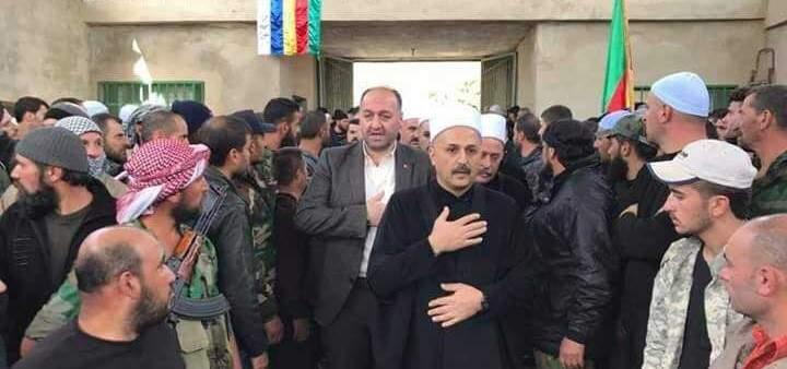ممثل الشيخ غريب شارك بتشييع ضحايا حضر السورية واكد تأييد الاسد