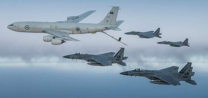 الدفاع السعودية تنشر صورا لتحليق مشترك لمقاتلات سعودية أميركية من نوع F15 C فوق الخليج