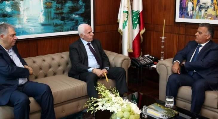 ابراهيم بحث مع الأحمد  آخر التطورات في فلسطين وأوضاع المخيمات في لبنان