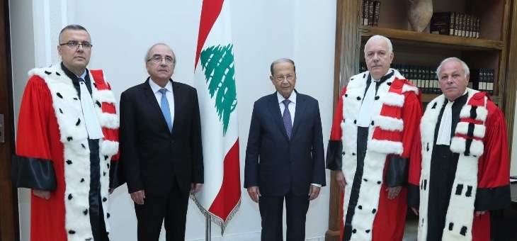 القضاة سهيل عبود وغسان عويدات وفادي الياس أقسموا اليمين أمام الرئيس عون