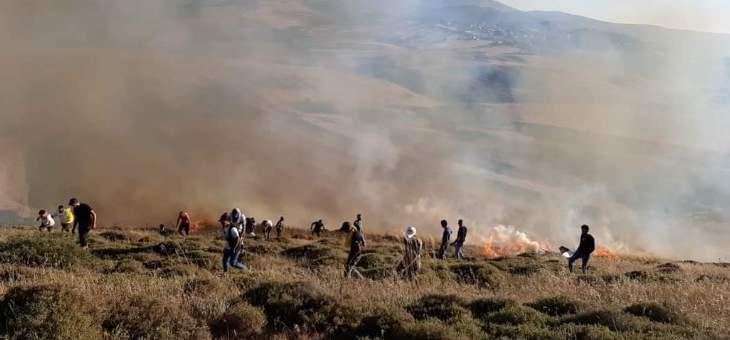 اندلاع حريق كبير في مارون الراس جنوب لبنان اثناء تواجد المتظاهرين على الحدود