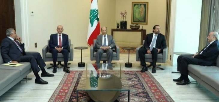 بدء اللقاء الخماسي الذي يضم الرئيس عون وبري والحريري وجنبلاط وإرسلان