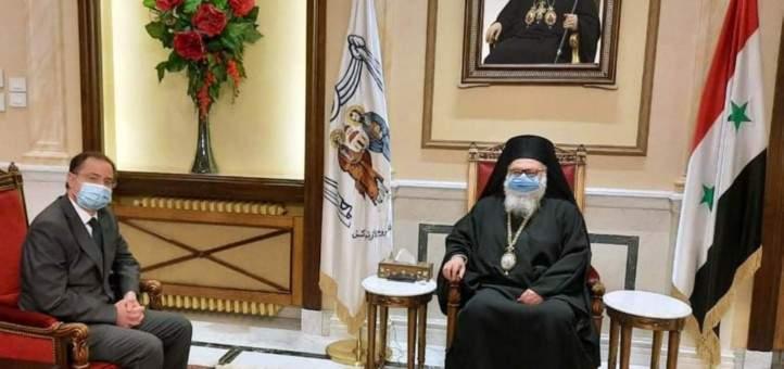 يوحنا العاشر استقبل في دمشق القائم بأعمال السفارة القبرصية