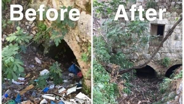 حملة لتنظيف مجرى نهر الجوز بين تنورين الفوقا وتنورين التحتا
