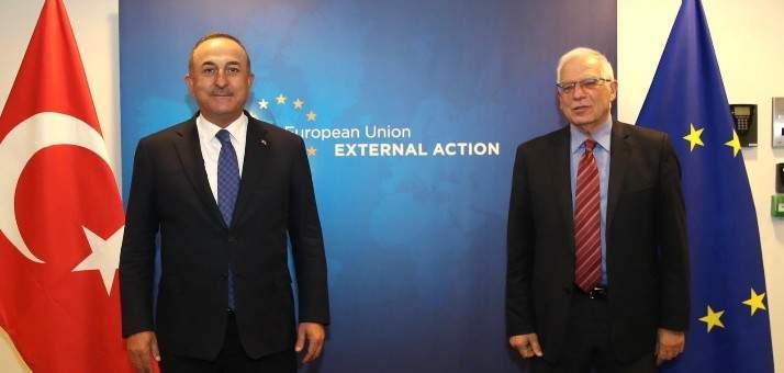 جاويش أوغلو: سنعمل مع بوريل لمواصلة الأجندة الإيجابية بين تركيا والاتحاد الأوروبي