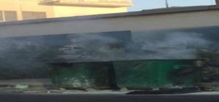 حرق مستوعبات النفايات عند تقاطع سامي الصلح بدارو