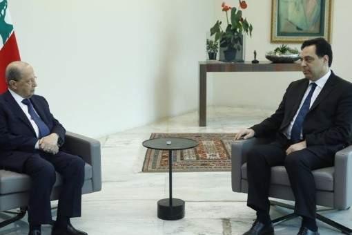الرئيس عون يلتقي دياب قبيل جلسة المجلس الأعلى للدفاع