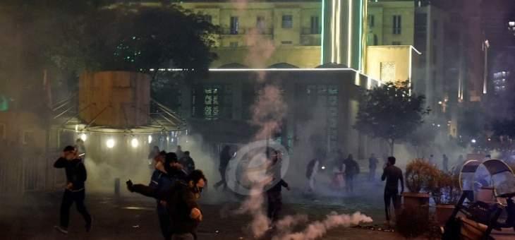 ارتفاع حدة المواجهات من جديد بين المتظاهرين والقوى الأمنية بوسط بيروت