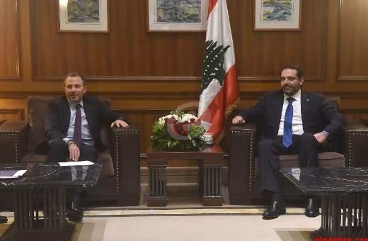 الحريري يلتقي باسيل على رأس وفد من تكتل لبنان القوي في مجلس النواب