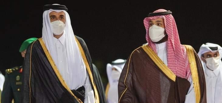 ولي العهد السعودي يستقبل أمير قطر بمطار جدة الدولي