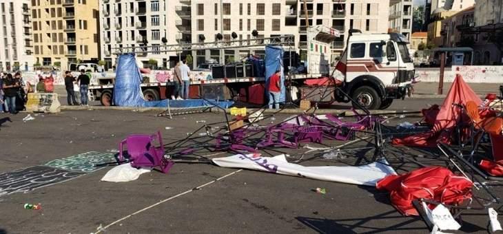 عودة المتظاهرين الى ساحة الشهداء ودعوات لاعادة نصب الخيم