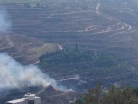 النشرة: اندلاع حريق في مساحات واسعة من الأراضي الزراعية بين بلدتي معركة وباريش