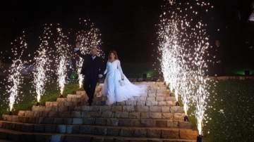 ملحم رياشي وعروسه يدخلان القفص الذهبي.. بالصور