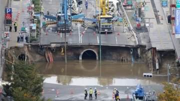 الحفرة العملاقة في اليابان تنهار بعد إصلاحها