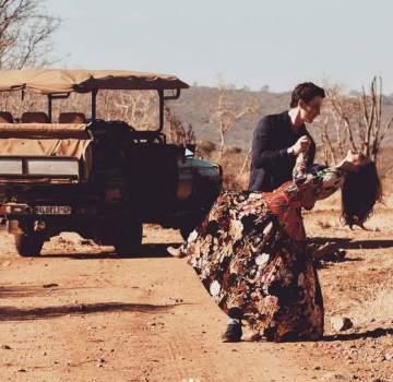 بالصور- ممثل أمريكي يقاجىء حبيبته برحلة سفاري غير عادية