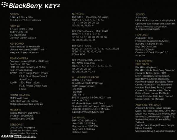 """المواصفات الكاملة للهاتف """"Blackberry KEY2"""" و""""كوالكوم"""" تكشف عن رقاقة """"Snapdragon 850"""""""