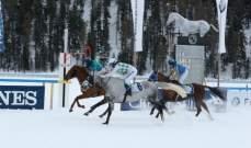 فارسة ألمانية بطلة سباق الخيول العربية الأصيلة على الجليد